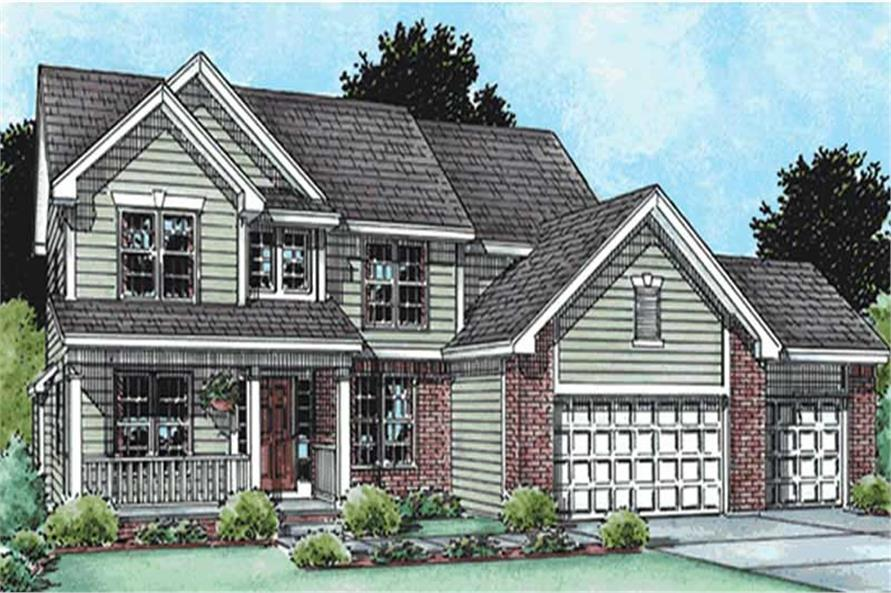 4-Bedroom, 2892 Sq Ft Country Home Plan - 120-2094 - Main Exterior
