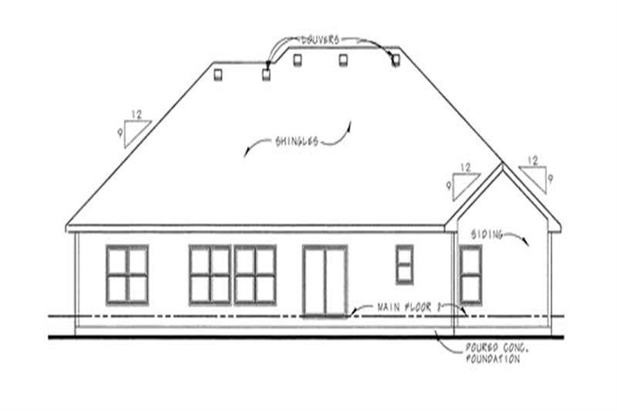 Home Plan Rear Elevation of this 3-Bedroom,2081 Sq Ft Plan -120-2098
