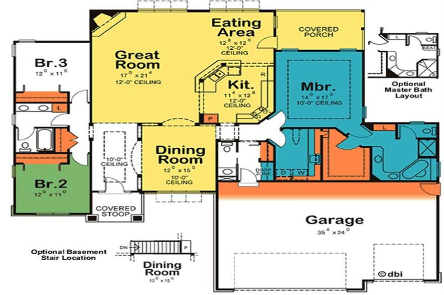 Home Plan Rear Elevation of this 3-Bedroom,2274 Sq Ft Plan -120-2099