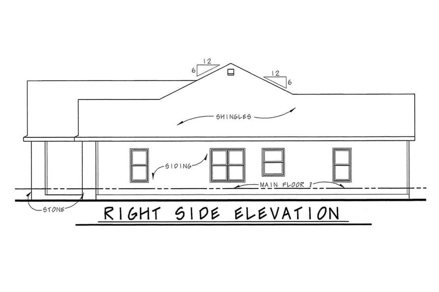 Home Plan Right Elevation of this 3-Bedroom,1755 Sq Ft Plan -120-2103