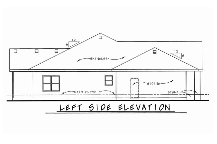 Home Plan Left Elevation of this 3-Bedroom,1755 Sq Ft Plan -120-2103