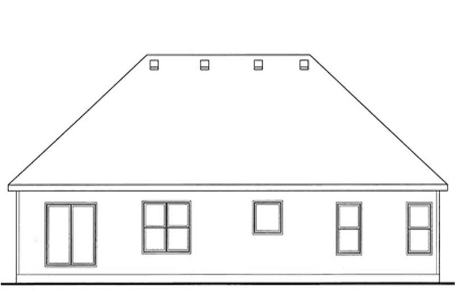 Home Plan Rear Elevation of this 3-Bedroom,1719 Sq Ft Plan -120-2105