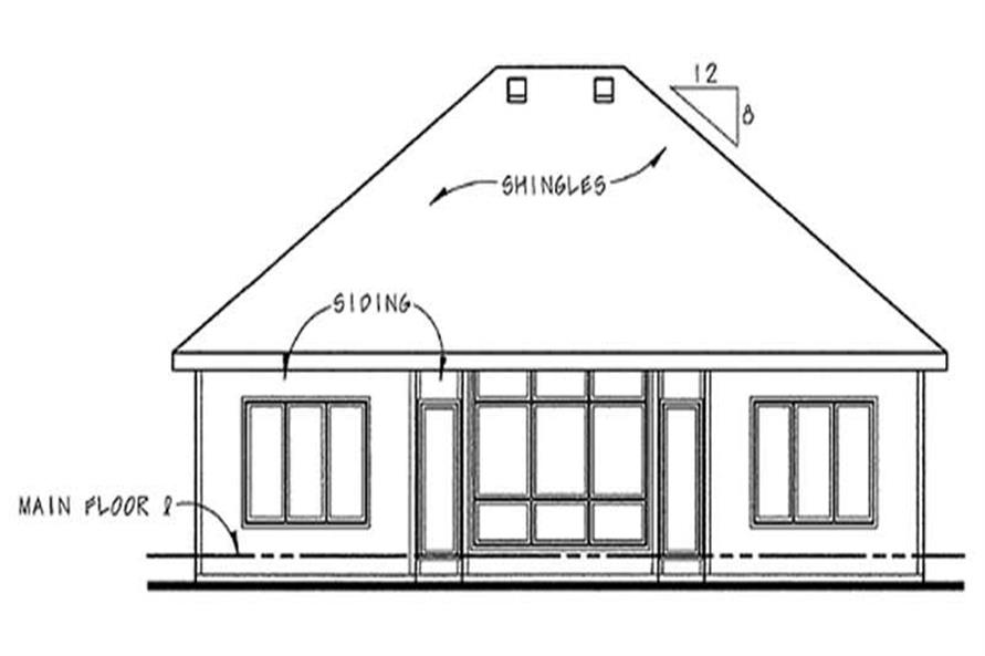 Home Plan Rear Elevation of this 2-Bedroom,1490 Sq Ft Plan -120-2107