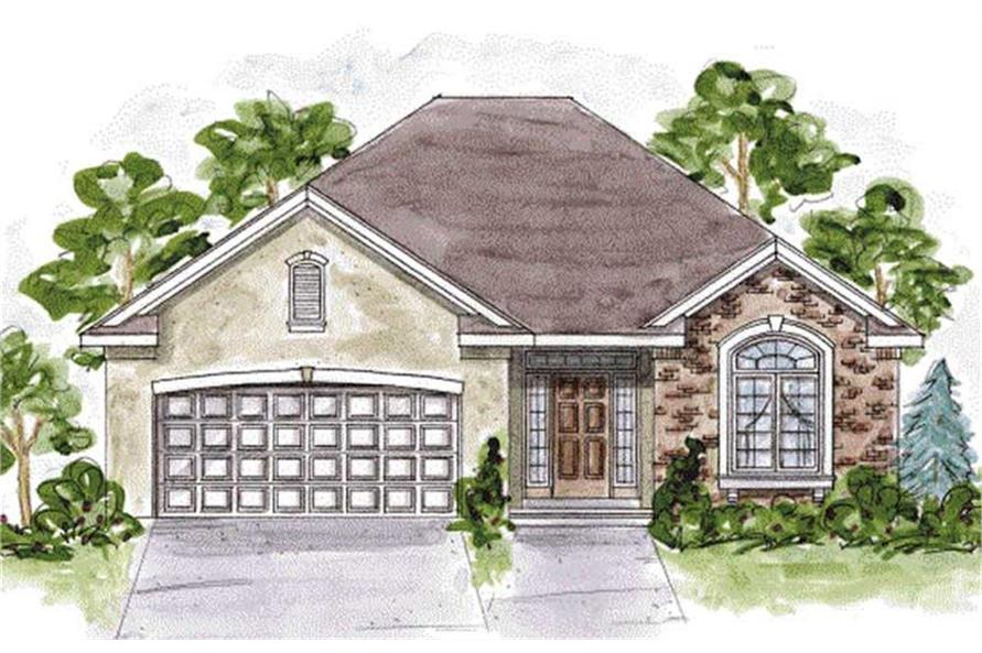 Home Plan Front Elevation of this 2-Bedroom,1490 Sq Ft Plan -120-2107
