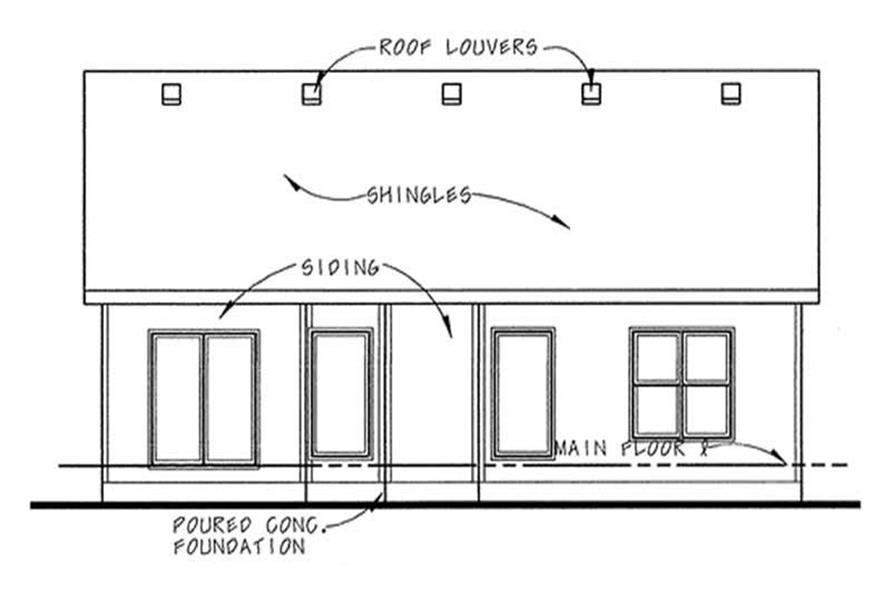 Home Plan Rear Elevation of this 2-Bedroom,1275 Sq Ft Plan -120-2109