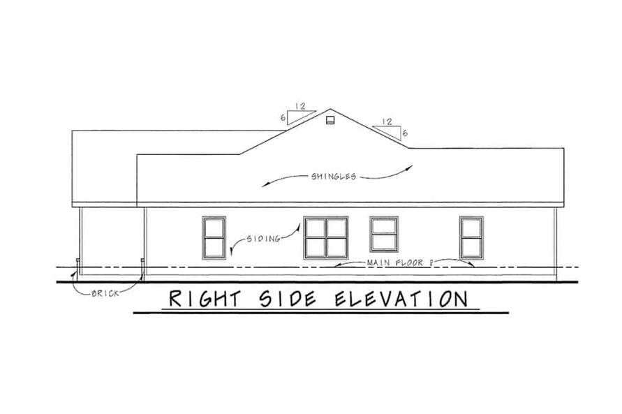 Home Plan Right Elevation of this 3-Bedroom,1755 Sq Ft Plan -120-2114
