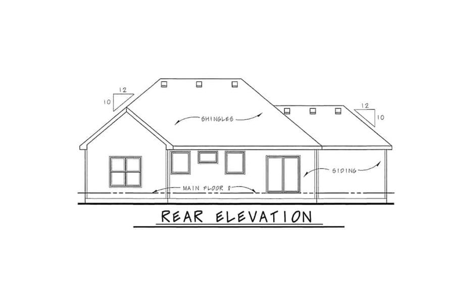 Home Plan Rear Elevation of this 3-Bedroom,1755 Sq Ft Plan -120-2114