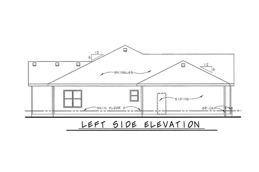 Home Plan Left Elevation of this 3-Bedroom,1755 Sq Ft Plan -120-2114