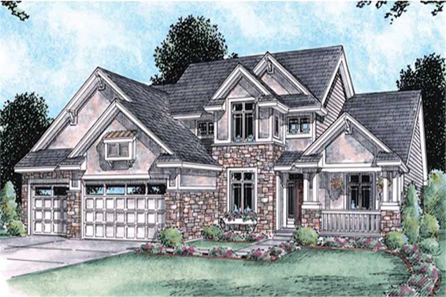 4-Bedroom, 2704 Sq Ft Craftsman House Plan - 120-2115 - Front Exterior