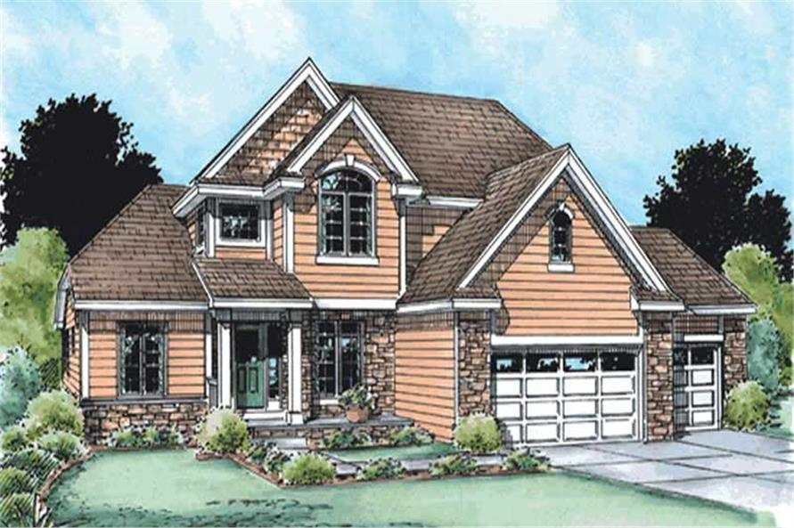 4-Bedroom, 2376 Sq Ft Traditional House Plan - 120-2120 - Front Exterior
