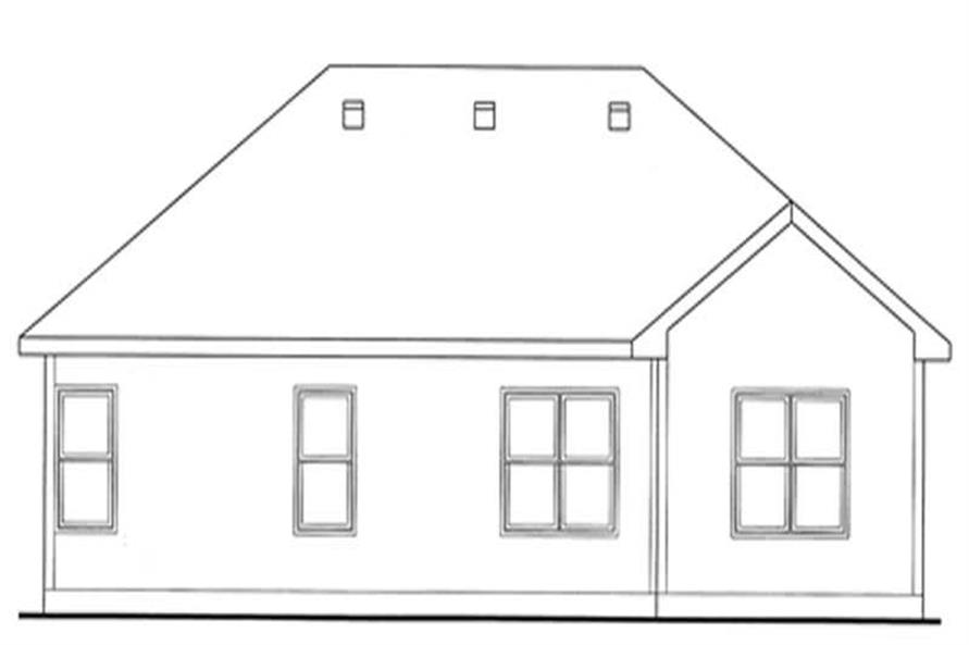 Home Plan Rear Elevation of this 3-Bedroom,1482 Sq Ft Plan -120-2125
