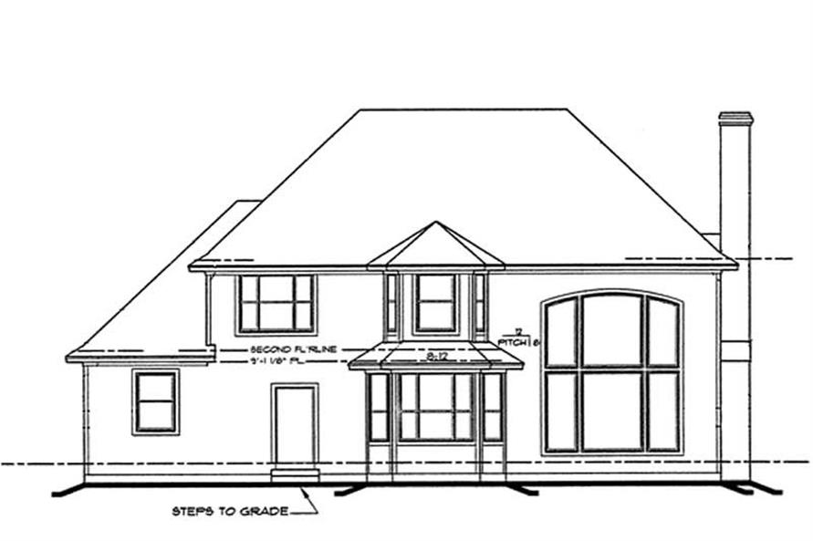 Home Plan Rear Elevation of this 4-Bedroom,3222 Sq Ft Plan -120-2126
