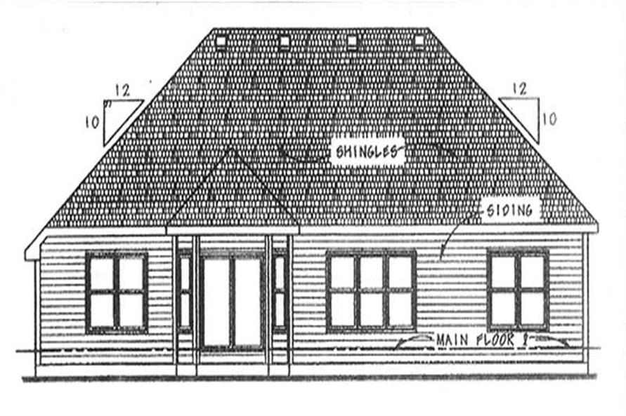 Home Plan Rear Elevation of this 3-Bedroom,1820 Sq Ft Plan -120-2128
