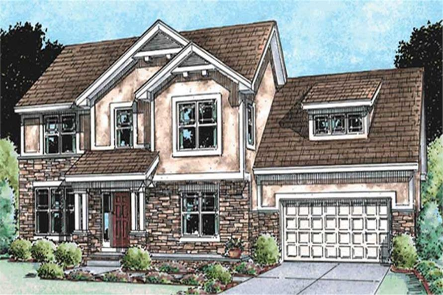 4-Bedroom, 2609 Sq Ft Country Home Plan - 120-2131 - Main Exterior