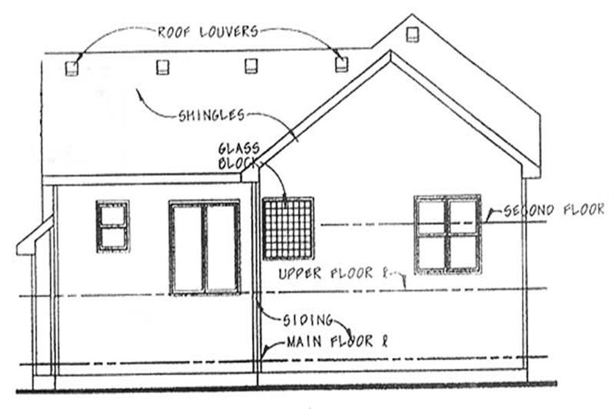 Home Plan Rear Elevation of this 4-Bedroom,1638 Sq Ft Plan -120-2134