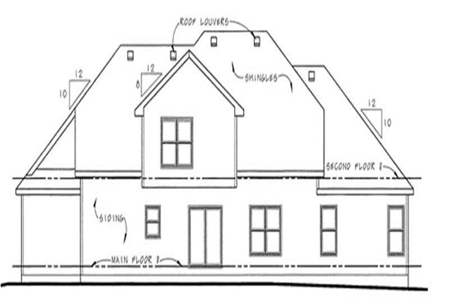 Home Plan Rear Elevation of this 4-Bedroom,2772 Sq Ft Plan -120-2138