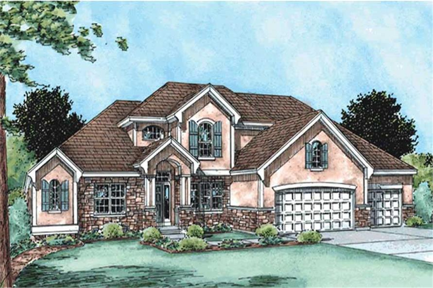 4-Bedroom, 2772 Sq Ft Country House Plan - 120-2138 - Front Exterior