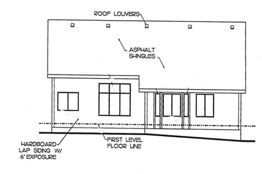 Home Plan Rear Elevation of this 1-Bedroom,1350 Sq Ft Plan -120-2143