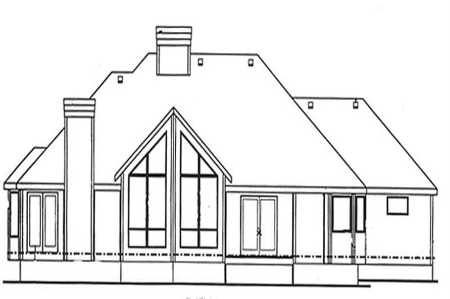 Home Plan Rear Elevation of this 2-Bedroom,1904 Sq Ft Plan -120-2145