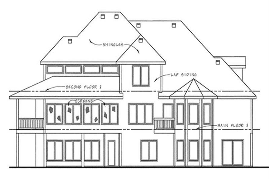 Home Plan Rear Elevation of this 3-Bedroom,3250 Sq Ft Plan -120-2158