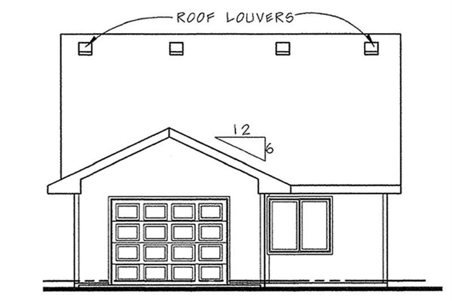 Home Plan Rear Elevation of this 2-Bedroom,1080 Sq Ft Plan -120-2162