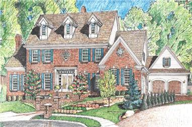 4-Bedroom, 4875 Sq Ft Colonial House Plan - 120-2163 - Front Exterior