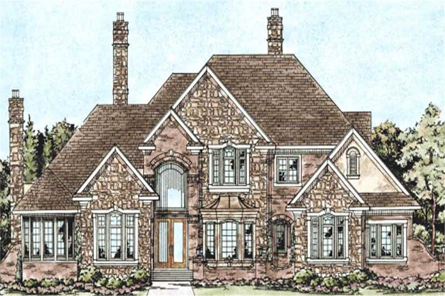 120 2164 this image shows the front elevation of these luxury house plans european house plans - European House Plans