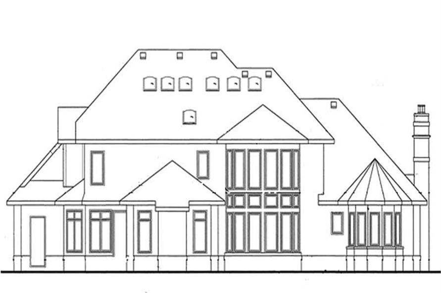 Home Plan Rear Elevation of this 4-Bedroom,4268 Sq Ft Plan -120-2164