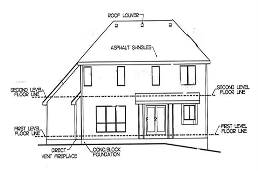 Home Plan Rear Elevation of this 3-Bedroom,1901 Sq Ft Plan -120-2165