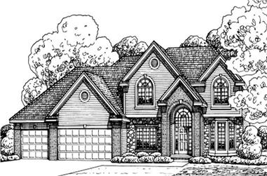 4-Bedroom, 2674 Sq Ft Traditional Home Plan - 120-2167 - Main Exterior