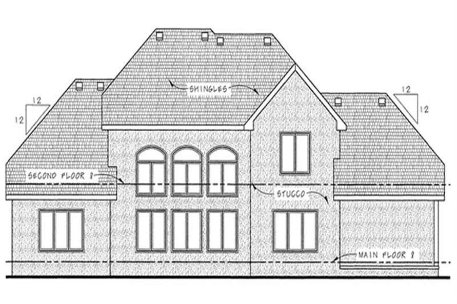 Home Plan Rear Elevation of this 4-Bedroom,3124 Sq Ft Plan -120-2176