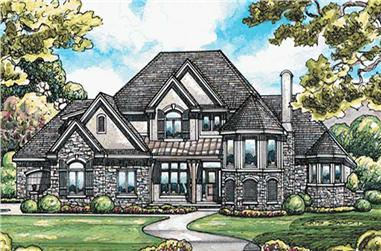 4-Bedroom, 4269 Sq Ft Country Home Plan - 120-2185 - Main Exterior