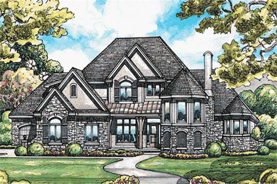 European house plans color front elevation.