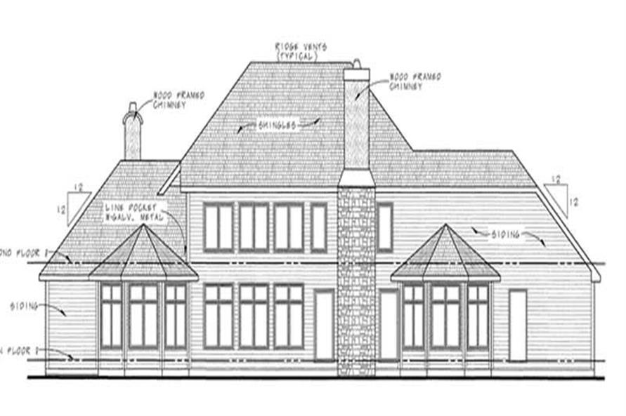 Home Plan Rear Elevation of this 4-Bedroom,4269 Sq Ft Plan -120-2185