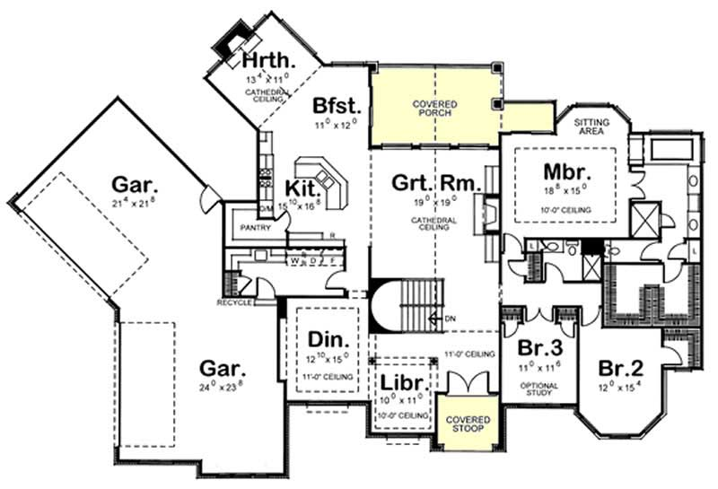 House plan 120 2190 3 bedroom 2932 sq ft french for Ranch floor plans with 3 car garage