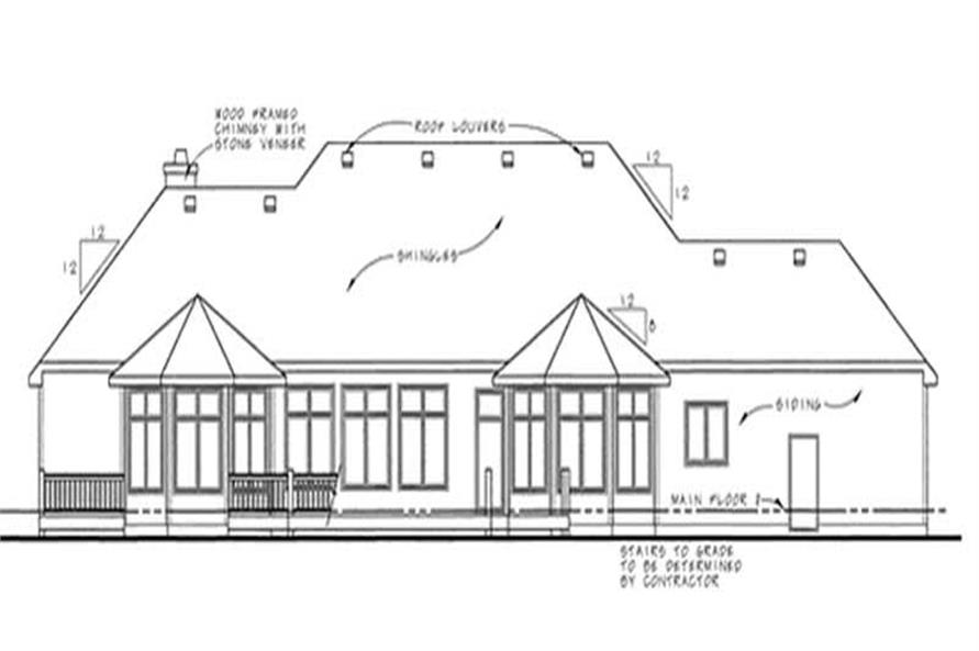 Home Plan Rear Elevation of this 3-Bedroom,2962 Sq Ft Plan -120-2194