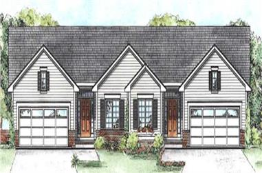 2-Bedroom, 1209 Sq Ft Multi-Unit House Plan - 120-2196 - Front Exterior