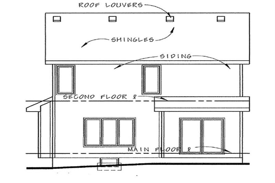Home Plan Rear Elevation of this 3-Bedroom,1440 Sq Ft Plan -120-2199