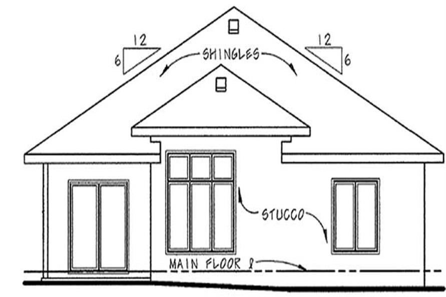 Home Plan Rear Elevation of this 2-Bedroom,1550 Sq Ft Plan -120-2201