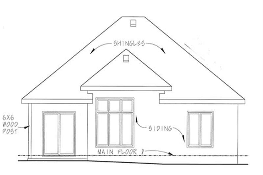 Home Plan Rear Elevation of this 2-Bedroom,1550 Sq Ft Plan -120-2202