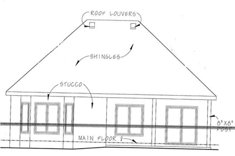 Home Plan Rear Elevation of this 2-Bedroom,1905 Sq Ft Plan -120-2204