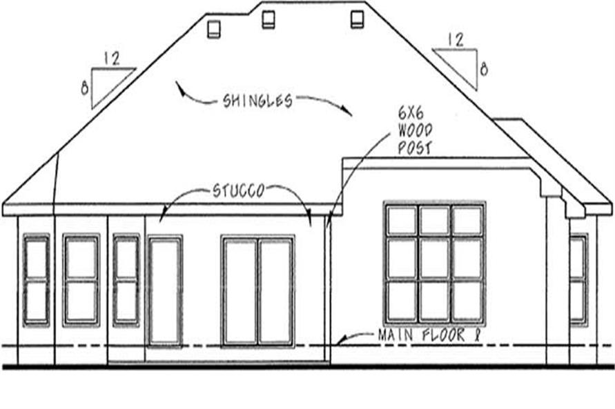 Home Plan Rear Elevation of this 3-Bedroom,1905 Sq Ft Plan -120-2205