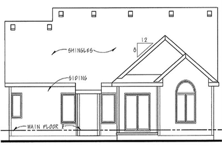 Home Plan Rear Elevation of this 3-Bedroom,1467 Sq Ft Plan -120-2207
