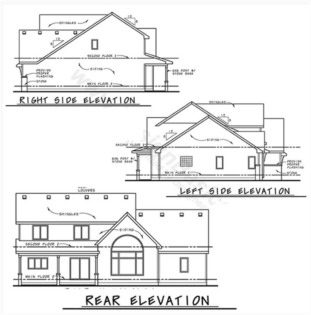 120-2230: Home Plan Rear Elevation