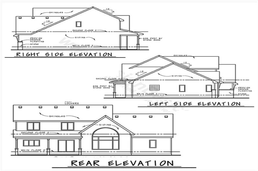 Home Plan Rear Elevation of this 4-Bedroom,2607 Sq Ft Plan -120-2230