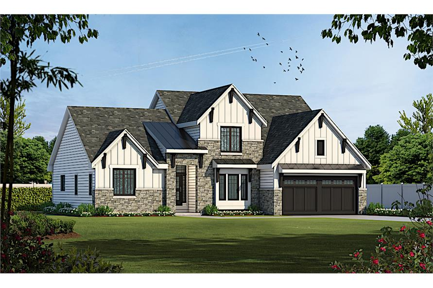 4-Bedroom, 2607 Sq Ft Transitional House - Plan #120-2230 - Front Exterior
