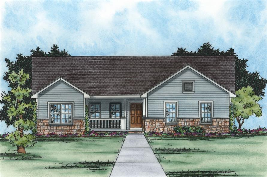 Front Elevation of this Traditional House (#120-2235) at The Plan Collection.