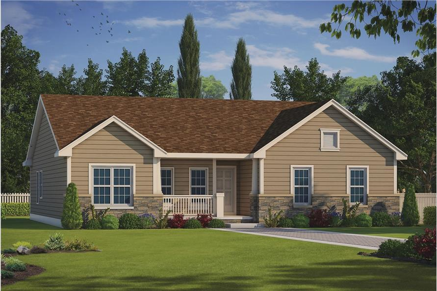 Color rendering of Traditional style home plan (House Plan #120-2235) at The Plan Collection.