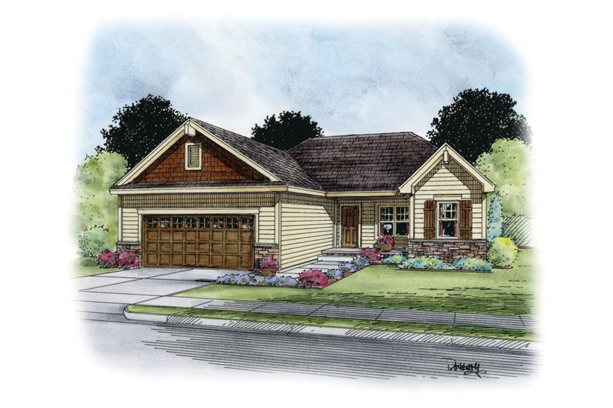 Front Elevation of this Craftsman House (#120-2236) at The Plan Collection.