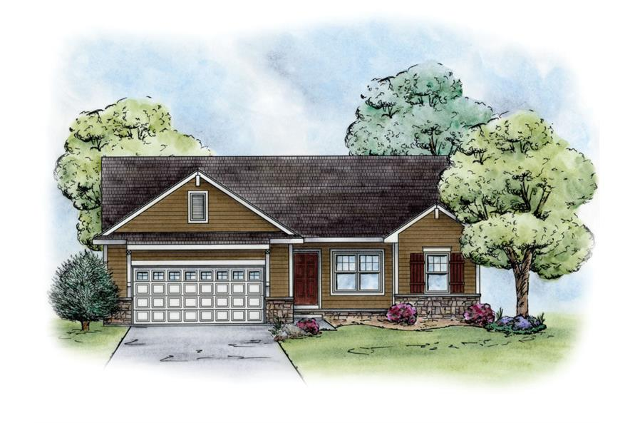 Front Elevation of this Craftsman House (#120-2237) at The Plan Collection.